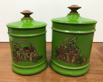 Vintage Kromex Canisters - 1970's Olive Green Canisters - Kitchen Storage Tins (2)