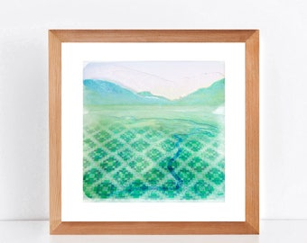 landscape print patchwork fields limited edition print - the lookout II - artwork wall art giclee print, mountain art river, digital collage
