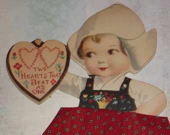 RARE U/S Ellen Clapsaddle Adorable Dutch Girl With Novelty Add-On Fabric Skirt Antique Stand-Up Valentine Card - UNUSED