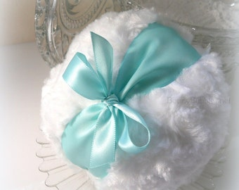 AQUA Powder Puff  - satin robin egg blue - turquoise and white pouf,  gift box option - by Bonny Bubbles