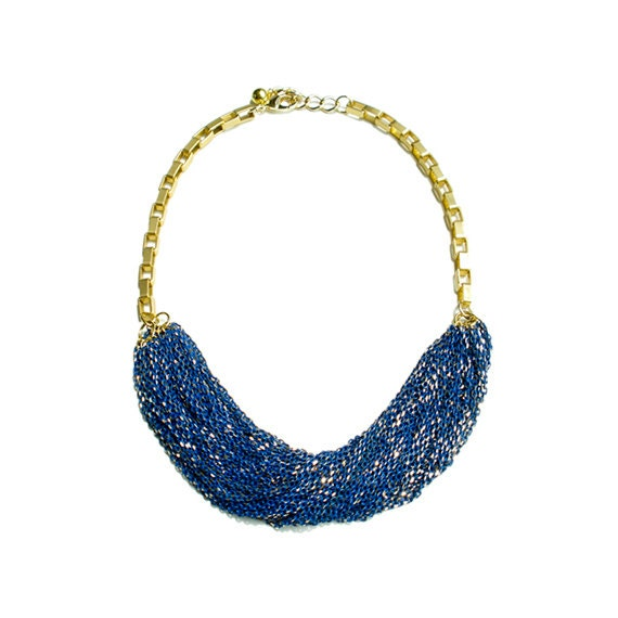 Multi Strand Chic Statement Chain Necklace - Blue