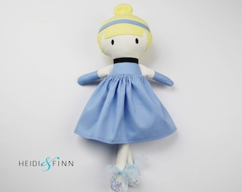 LIMITED EDITION cinderella Mini Pals soft rag doll keepsake gift OOAK ready to ship blue silver