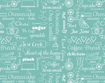 Kitchen Love Collection - Delicious Words on Turquoise by Cherry Guidry for Contempo Studios - Listed by the Half Yard