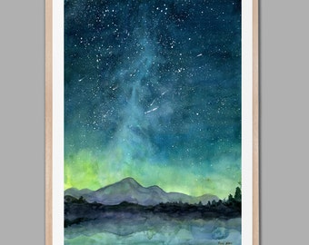 Starry Sky Print, Watercolor Painting Print, Starry Night Painting Print, Watercolor Sky, Landscape painting
