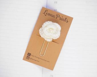 Crochet Rose Planner Clip / Bookmark - Cream | Stationery for Erin Condren, Filofax, Kikki K
