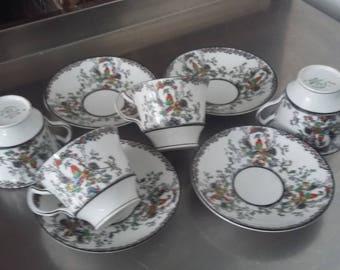4 Vintage Melba Bone China Oriental Garden Chintz Side Sandwich Cups and Saucers