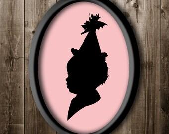 First Birthday Silhouette Portrait, Custom Birthday Silhouette from your photo, Silhouette with Party Hat, Wall Art, Silhouette Portrait