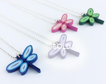 Quilled Paper Dragonfly pendant necklace, sterling silver chain: choose your dragonfly color! Handmade dragonfly gift, cute gift for girls,