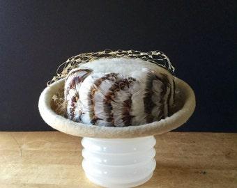Ladies Vintage Wool Hat, Ivory Hat, Wool and Feather Hat, Marisia Italy Hat, Mr Josephs Hat, Ladies Wool Fedora, Retro Hat, Womans Dress Hat