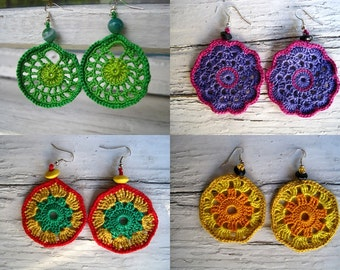 PATTERN crochet earrings, THREE patterns, two PDF files, Crochet earrings pattern