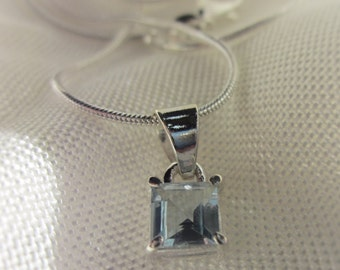 Square Blue Topaz Gemstone, Silver Pendant Necklace