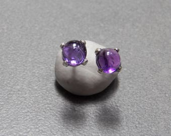 5mm Amethyst Gemstone Post Earrings Prong set with Sterling Silver