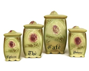 Antique Majolica Rose French Kitchen Canister Set. Ceramic Flower Spice Jar Set. Chic Romantic Shabby Kitchen Decor. Gifts For Mom.