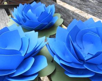 Set of 3 Lotus Flowers. CHOOSE YOUR COLORS. Wedding, Event, Favor. Guest Table Decoration