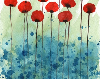 Watercolor Painting: Watercolor Flower Painting - Serendipity - Red Flowers -- Giclee Print 11x14