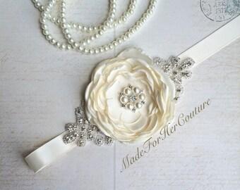 Ivory Bridesmaid Sash/Belt, Flower girl Sash, flower girl belt, Rustic Sash, Wedding Sash, wedding belt,  bridal sash/belt, Bridal sash