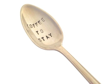 Spoon hand stamped silver + lettering