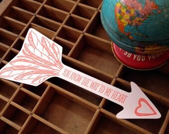 letterpress arrow love