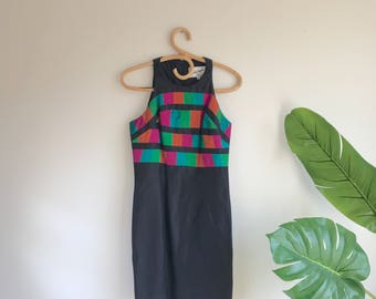 Vintage Black Silk Wiggle 90's Dress with Colorblock Bodice by Linda Segal Size 4