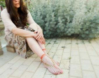 Hippie Barefoot sandals. Orange green drops beaded crochet sexy foot jewelry, ethnic, boho, gypsy  beach fashion, nude shoes, yoga, Summer
