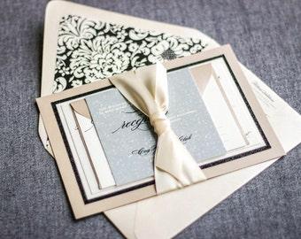 "Champagne Wedding Invitations, Classic Invitations, Elegant Wedding, Formal Wedding Invitation - ""Classic Romance"" FP-2L-v1 SAMPLE"