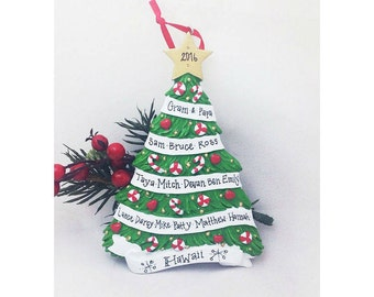 Large Family Christmas Tree Ornament / Up to 16 Names Personalized Ornament / Custom Names and Message / 9 / 10 / 11 / 12 / 13 / 14 / 15