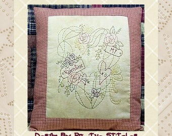 My Valentine Wreath--Primitive Stitchery E-PATTERN-by Primitive Stitches-Instant Download