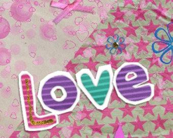Double Love handmade 21cm x 10cm