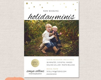 Holiday mini session template marketing board -  Chic Snowfall MC003 -  INSTANT DOWNLOAD