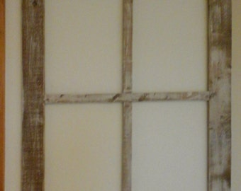 Repurposed distress wood window frame