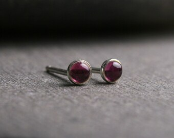 Tiny bezel set untreated pink tourmaline sterling silver stud earrings 3mm