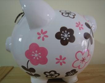 Personalized Large Pink/ Brown flowers Piggy  Bank Newborns , Birthday,Girls,Flower Girl,Baby Shower Gift Centerpiece