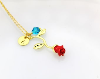 Rose Necklace Gold Rose Charm Necklace Red Rose Charm Rose Necklace Romantic Gift Flower Jewelry Personalized Necklace Initial Charm
