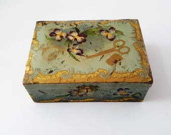 Victorian Celluloid and Paper Sewing Box Shabby Antique Box Trinket Box Jewelry Box Dresser Box