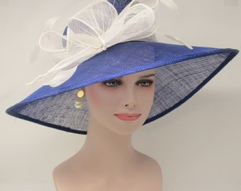 Royal  Blue with White Kentucky Derby Hat, Church Hat, Wedding Hat, Easter Hat, Tea Party Hat Wide Brim Woman's Sinamay Hat