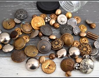 Jar of Vintage Metal Buttons - Button Lot - Vintage Buttons - Assorted Metal Buttons - Glass Jar