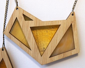 Shades of Orange Foxface Wooden Pendant on chain