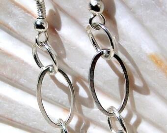 Silver Earrings, Beautiful Oval Chain Jewelry E066,Jewelry