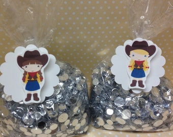 Cowboy and Cowgirl Party Candy or Favor Bags with Tags