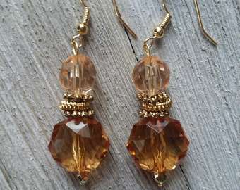 Amber faceted beads gold accents