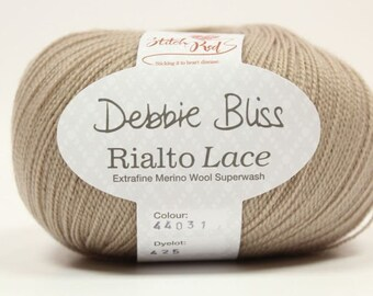 Debbie Bliss Rialto Lace in shade 31 Stone.  5 x 50g balls