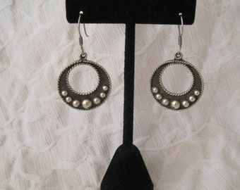 Sterling Silver 925  Hoops Taxco Mexico Dangle Drop