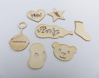 7 embellishments wooden theme baby boy and girl Teddy bear rattle baby bottle baby girl and boy