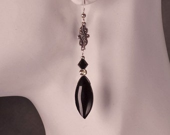 Victorian Marquis earrings with Swarovski crystals and sterling silver