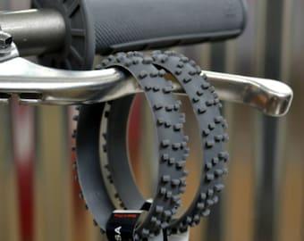 2 GRAY KNOBBY Dirt Bike Tire Wristbands