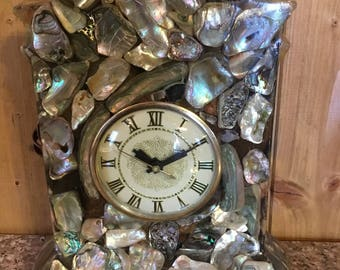 Vintage stone and Shell Resin Mantle Clock . . .