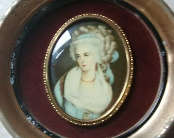 Victorian Cameo Creation Portrait of Mrs. Chaplin by George Romney with Circular Frame Vintage Art