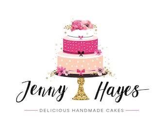 Custom Cake Logo Design Premade Branding Package Premade Graphics Custom Text Gold Hot Pink Black Floral Cake Logo Design