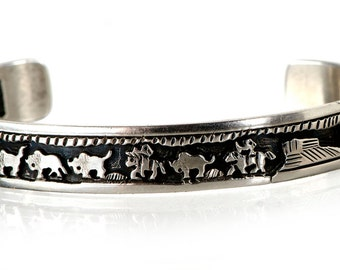 "Navajo story telling cuff bracelet ""Buffalo Hunt"""