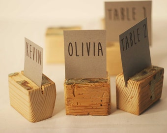 10 pieces Rustic place card holders, Wedding card holders, name card holders, Rustic wedding table number holder, wooden card holders
